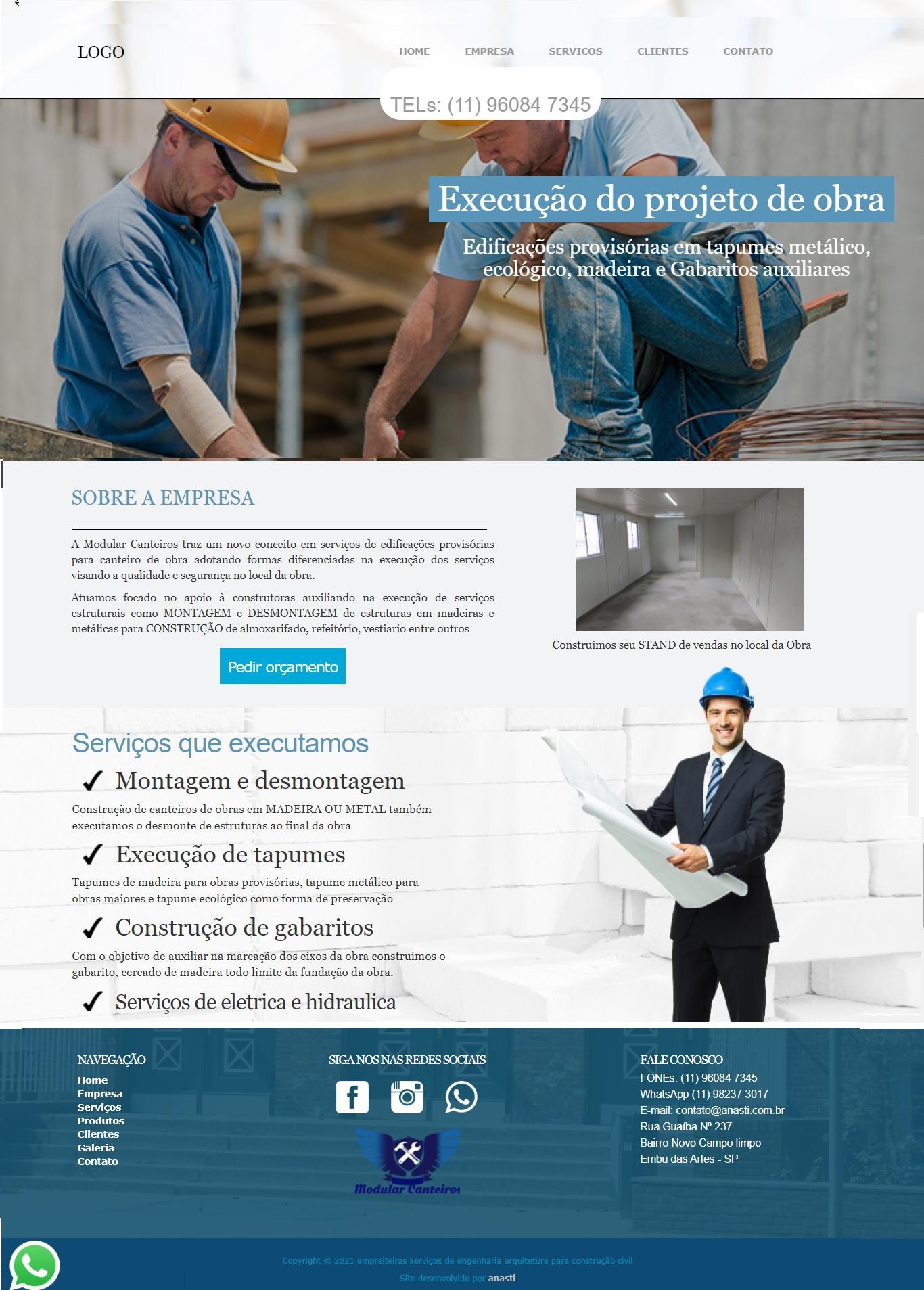 Layout pronto para construtoras empresas de engenharia arquiteto
