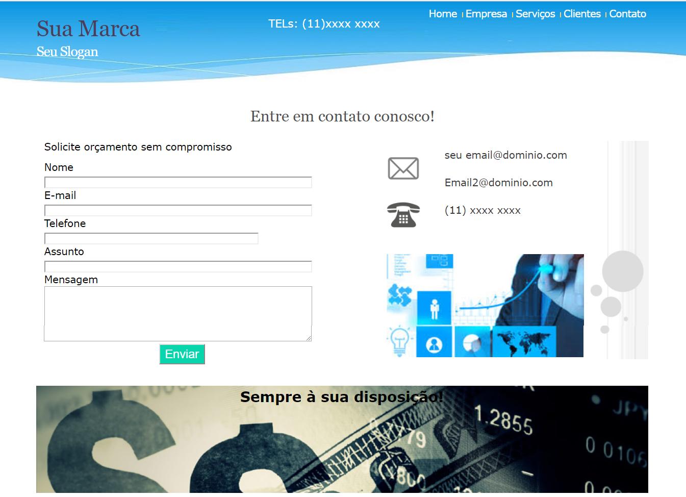 layout template para landing e anuncios captura de emails