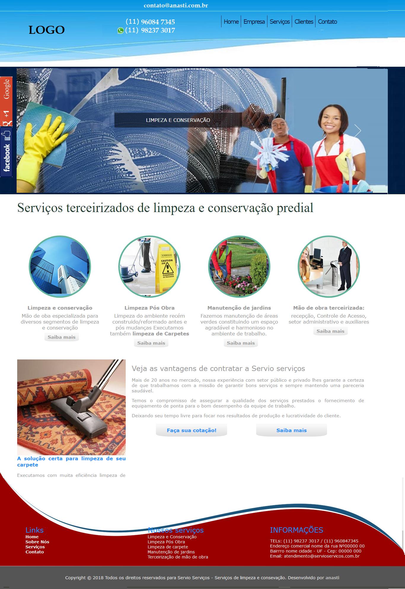 Modelo de sites para terceirização de portaria e limpeza
