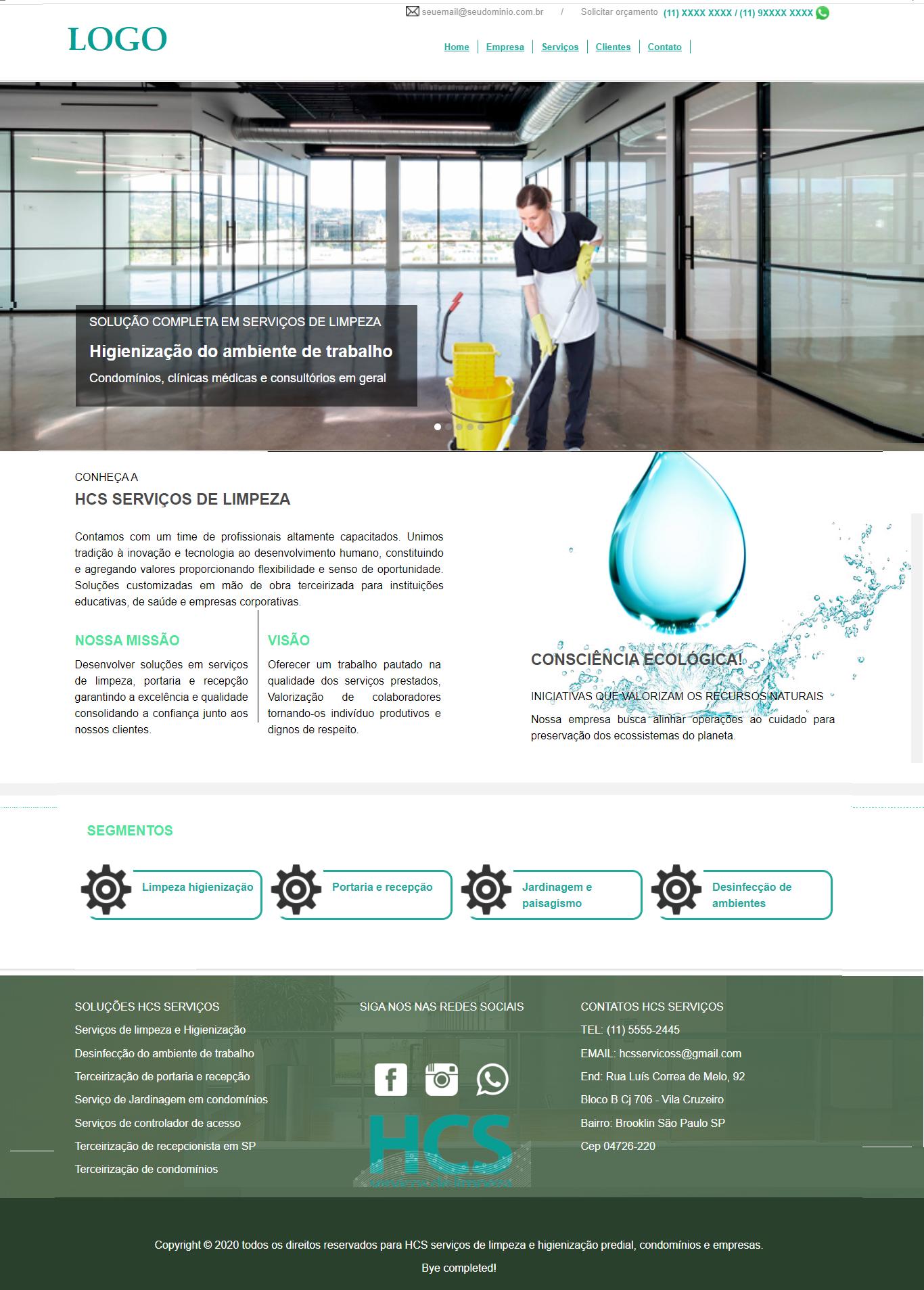Modelo de site para empresa de limpeza terceirização de serviços