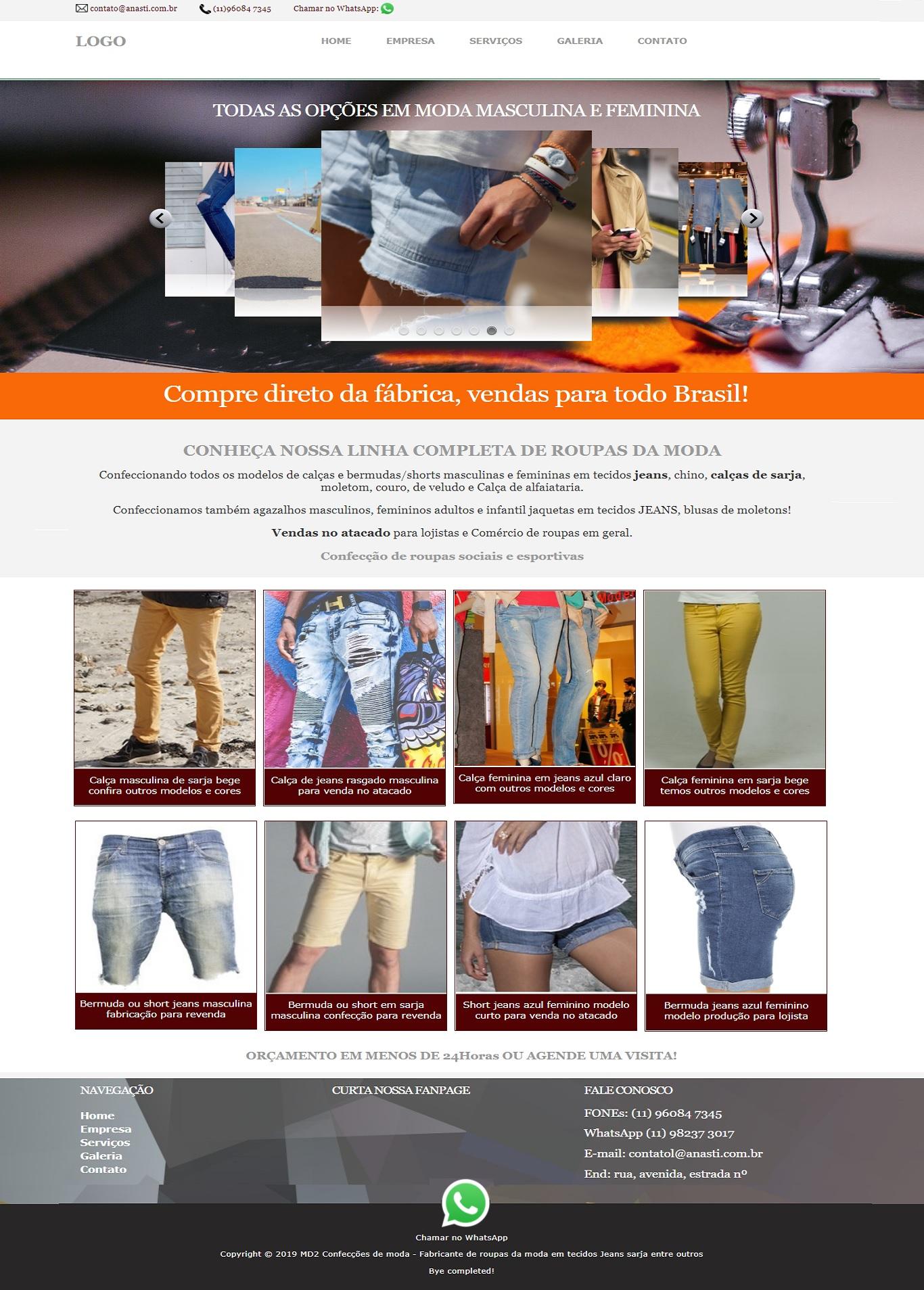 Template de site para confecções oficina de costura Layout simples